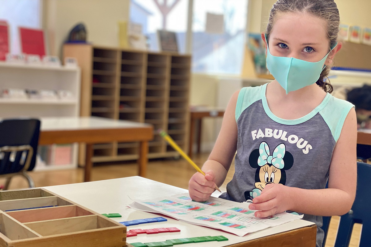 Montessori School COVID-19 Safety Face Masks in the Classroom
